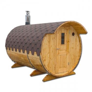 Sauna mit Ankleideplatz Sauna Fass Saunafass Außensauna 2,0 x 3 m