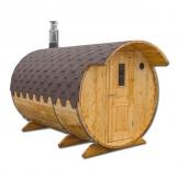 Sauna mit Ankleideplatz Sauna Fass Saunafass Außensauna 2,0 x 4 m