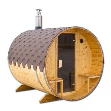 Sauna mit Außensitzplatz Sauna Fass Saunafass Außensauna 2,0 x 2,4 m