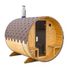 Sauna mit Außensitzplatz Sauna Fass Saunafass Außensauna 2,0 x 3,6 m