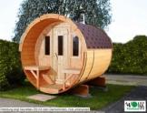 Wolff Finnhaus Saunafass 220 komplett montiert, rote Dachschindeln