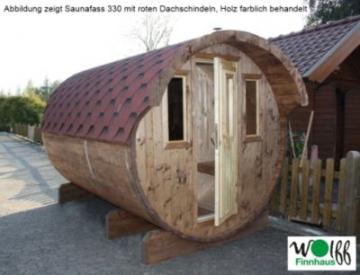 Wolff Finnhaus Saunafass 400, 2 Räume komplett montiert, rote Dachschindeln