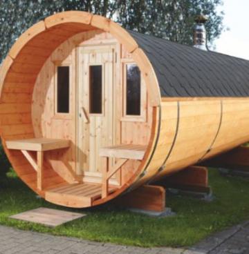 ᐅ Wolff Finnhaus Saunafass 400, Bausatz, schwarze Dachschindeln